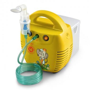 Aparat de aerosoli Little Doctor LD 211 C, cu compresor, galben, cutie pentru accesorii, 3 dispensere, 3 masti