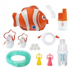 Aparat de aerosoli RedLine Healthy Fish Pro, MMAD variabil 2.44 - 5 µm, forma jucausa apreciata de copii, 4 dispensere, furtun 6m, 2 kit-uri de nebulizare