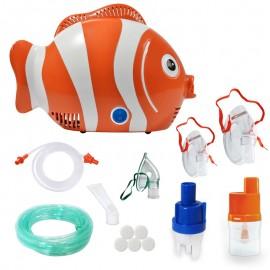Aparat de aerosoli RedLine Healthy Fish Pro, MMAD 2.44 si 4 µm, forma jucausa apreciata de copii, furtun de 6m, 2 kit-uri de nebulizare