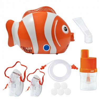 Aparat de aerosoli cu compresor RedLine Healthy Fish, MMAD 2.44 µm, forma jucausa apreciata de copii