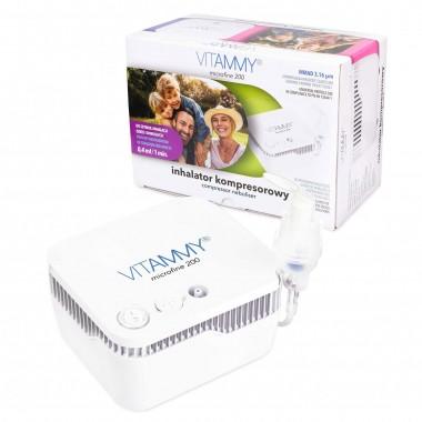 Aparat aerosoli VITAMMY Microfine 200, nebulizator cu compresor, masca copii si adulti, MMAD 3.16 μm, Alb