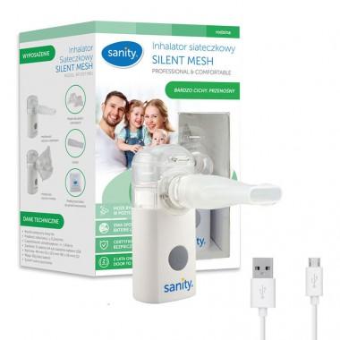 Aparat aerosoli cu tehnologie mesh Sanity Silent Mesh AP 2717 PRO, dimensiuni reduse, cablu USB