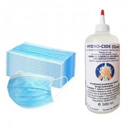 Set 50 bucati masti de protectie de unica folosinta, 3 straturi plus dezinfectant pentru maini Hydro-Cide, 500 ml