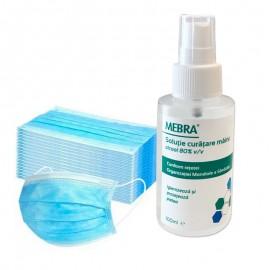 Igienizant maini, contine alcool 80%, 100 ml plus set 50 bucati masti de protectie de unica folosinta