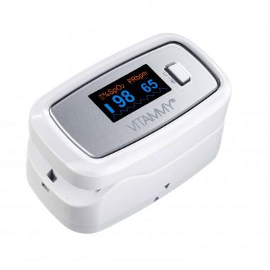 Pulsoximetru Vitammy Sat Plus, rezistent, rotire automata a ecranului, indica nivelul de saturatie a oxigenului, masoara rata pulsului