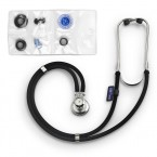 Stetoscop Little Doctor LD SteTime cu ceas, 2 tuburi, lungime tub 56cm, Negru/Inox