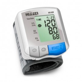 Tensiometru electronic de incheietura Nissei WS-820, afisaj LCD,  memorare 2 x 30 de valori, alb/gri