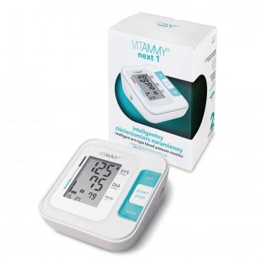 Tensiometru electronic de brat VITAMMY Next 1, mufa USB, detectie miscarea corpului, memorare 2 utilizatori, manseta 22-40 cm, Alb