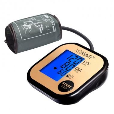 Tensiometru electronic de brat VITAMMY Ultra Beat, manseta 22-42 cm, Negru/Auriu