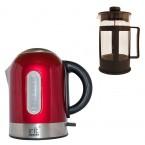 Pachet fierbator Irit IR-1323, 2200 W, 1.7 l, Rosu + Presa de ceai / cafea Irit FR-06-014