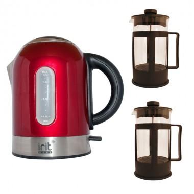 Pachet fierbator Irit IR-1323, 2200 W, 1.7 l, Rosu + 2 Prese de ceai / cafea Irit FR-06-014