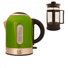 Pachet fierbator Irit IR-1323, 2200 W, 1.7 l, Verde + Presa de ceai / cafea Irit FR-06-014