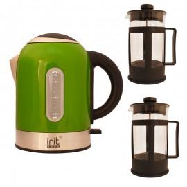 Pachet fierbator Irit IR-1323, 2200 W, 1.7 l, Verde + 2 Prese de ceai / cafea Irit FR-06-014
