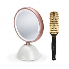 Set oglinda cosmetica iluminata REVLON Utimate Glow Beauty RVMR9029 si perie de par