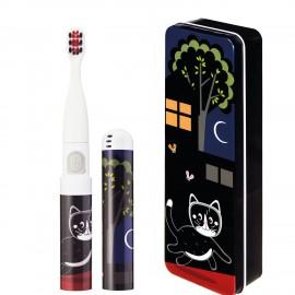 Periuta de dinti electrica VITAMMY Smile, pentru copii 3 +, cutie travel, Animatie Pisoi, Negru, TB8041CK