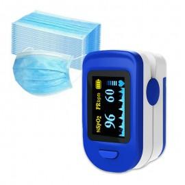 Pulsoximetru RedLine FS20C, Albastru/Alb plus set 50 bucati masti de protectie de unica folosinta, 3 straturi si 3 pliuri