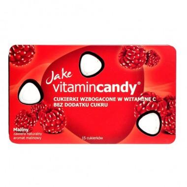 Drajeuri fara zahar VitaminCandy cu Vitamina C si gust de zmeura, 18 g