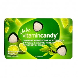 Drajeuri fara zahar VitaminCandy cu Vitamina C, extract de ceai verde si gust de lime, 18 g