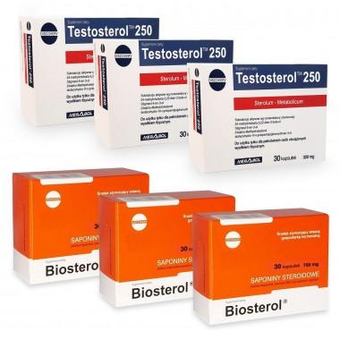 Pachet Megabol Biosterol 750 mg 3 buc plus Testosterol 250 3 buc, stimulare testosteron si hormon de crestere, inhibare estrogen